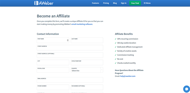Aweber Affiliate Registration