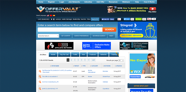 OfferVault Affiliate Products Directory