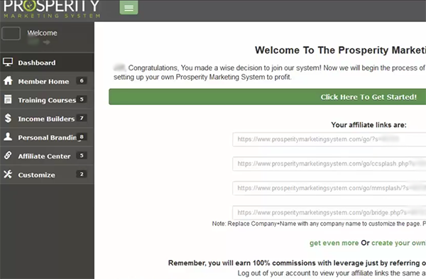 Prosperity Marketing System Login and Back Office