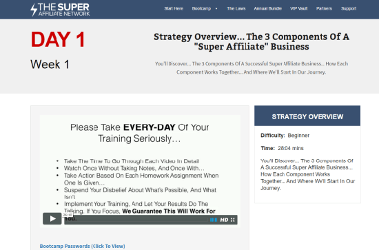 The Super Affiliate Network Back Office Training Review