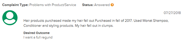 Complaints About Monat Hair Falling Out In Clumps BBB