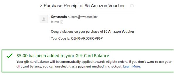 Sweatcoin Amazon Gift Card