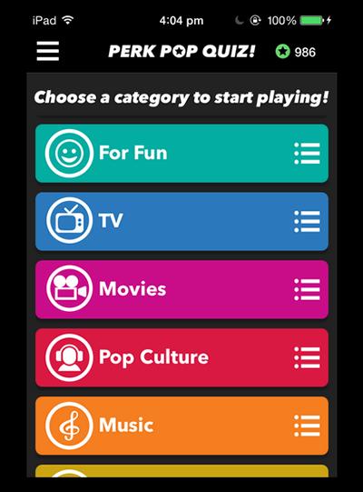 Perk Pop Quiz Phone App Image