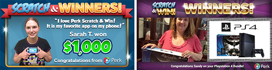 Perk Scratch & Win Rewards and Winners