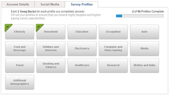 SwagBucks Survey Profile
