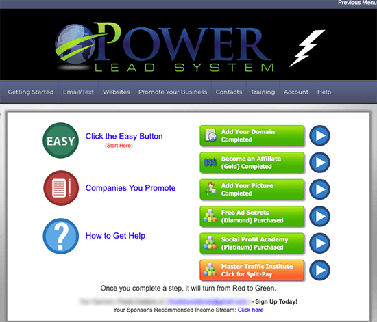 Power Lead System Back Office Levels