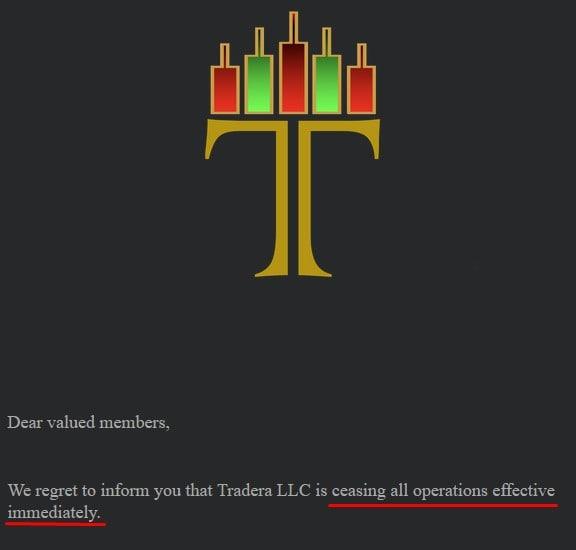 Tradera Shuts Down Operations