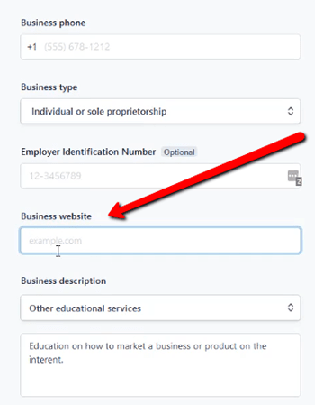 Stripe Business Website Field Tutuorial on What To Enter