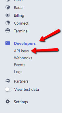 Stripe Developer API Keys Nvigation Guide